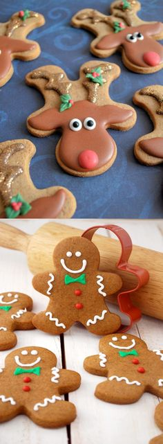 ginger bread cookies recipe christmas holiday baking...upside down gingerbread man makes a great reindeer!