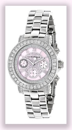 This Ladies Diamond Watch features 3 carats of genuine diamonds masterfully set on the bezel and lugs of the silver tone stainless steel case.
