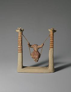 "mini-girlz: "" Reproduction of a terracotta figure of a girl on a swing Period: Late Minoan I ca. Origin: Minoan Painted plaster and string Overall: 6 in. Creta, Ceramic Figures, Ceramic Art, Ancient Greek Art, Egyptian Art, Ancient Aliens, Ancient Greece, Ancient Egypt, Statue Art"