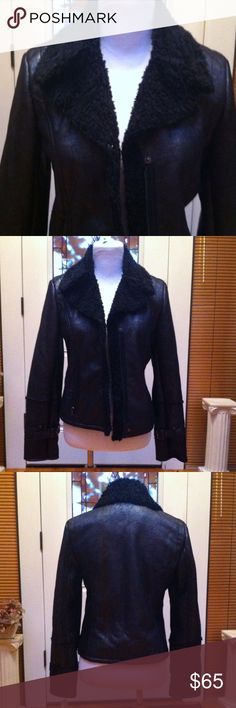Kenneth Cole faux suede shearling moto jacket Very cute, super soft jacket Kenneth Cole Jackets & Coats Utility Jackets