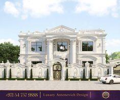 Luxurious Villa Design in Cambodia White Exterior Houses, Classic House Exterior, Classic House Design, Dream House Exterior, Modern House Design, Luxury Homes Exterior, Exterior Design, Village House Design, Bungalow House Design