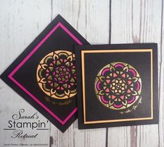 Beautiful Stained Glass Effect Note Cards created by UK Independent Stampin' Up Demonstrator Sarah Phelan from Sarah's Stampin Retreat using the Eastern Palace Bundle from Stampin' Up