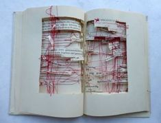 Germany based artist Ines Seidel uses books as the background in a landscape. Crisscrossing the landscape with string, Seidel embeds rocks, fastens folded packets of paper, and stitches independently cut words into the book. About the work. Kunstjournal Inspiration, Art Journal Inspiration, Up Book, Book Art, Casa Pop, Buch Design, Arte Sketchbook, Book Sculpture, Paper Artwork