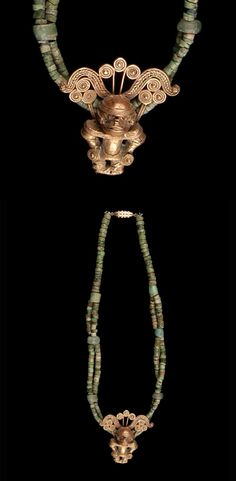 Colombia   Necklace from the Tairona culture (with Sinu style pendant); gold, green hardstone   ca. 300 - 1600 AD    This has probably been recently restrung, using the old elements