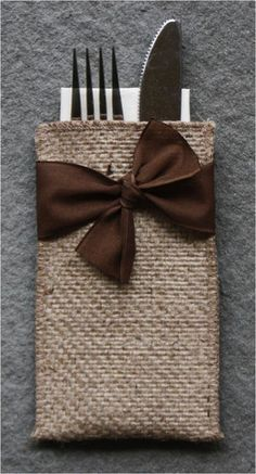 Hand-Tied Ribbon Burlap Silverware Pouch - Set of 8 - Cutlery Couture (idea only) Burlap Projects, Burlap Crafts, Sewing Crafts, Sewing Projects, Craft Projects, Crafts To Make, Arts And Crafts, Diy Crafts, Christmas Crafts