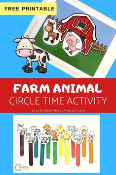 This barn and farm animals printable can be used in a variety of ways during the farm theme. Perfect for toddlers and preschoolers! #barn #farm #music #circletime #preschool #toddlers #teachers #props #2yearolds #3yearolds #teaching2and3yearolds Circle Time Activities, Farm Activities, Preschool Activities, Toddler Circle Time, Farm Songs, Time Planner, Farm Theme, New Teachers, Toddler Preschool