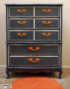 After of dresser very similar to ours. Not a fan of the black and orange, but I do like the black and white. Maybe inverse?