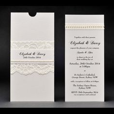 Antique Chic Pocket Invitation for something a little different.  We love the lace and pearl embellishment.  This style has been done in many different colours and it looks great every time. Think black and white, sage green and cream, antique pink and pearls....stunning!   #laceweddinginvitation