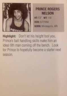 Prince Basketball Rookie Card: Don't let his height fool you.no truer words spoken I Miss Him, I Love Him, Prince Basketball, Detroit Basketball, Keep Dreaming, Prince Purple Rain, Old School Music, Look Man, Paisley Park