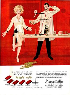 An example of why we simply can't have women in the sciences. (Funny bad retro flooring ads)