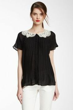 love this black sheer shirt with lace collar