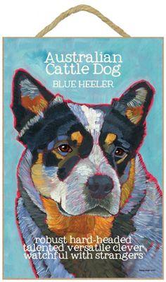 BLUE HEELER AUSTRALIAN CATTLE DOG  TIN SIGN CLOCK