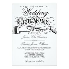 Elegant White Wedding Ceremony Invitations