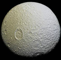 This mosaic of Saturn's moon Tethys is an orthographic projection constructed from 52 images obtained on April 11, 2015 with Cassini's narrow-angle camera. The images were obtained at a distance of...