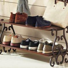 Furniture, Vintage Shoe Storage Design With Base And Iron Leg Ideas ~ 55 Entryway Shoe Storage Ideas Shoe Storage Diy, Shoe Rack Organization, Entryway Organization, Shoe Organizer, Storage Rack, Storage Ideas, Shoe Storage By Front Door, Storage Shelves, Slatted Shelves