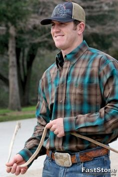 Cinch Western Shirt Mens L/s Plaid Button Xl Brown Teal Mtw1103550 | $60.00 | Casual Button-Down Shirts