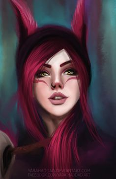 Xayah League of Legends, Yara Haddad on ArtStation at https://www.artstation.com/artwork/aq8Ak