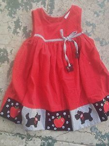 2368e97c7a7e 3 RARE EDITIONS Scottie Dog jumper dress girls kids red (A3) youth 3T