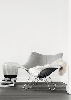 FREDERICIA | Stingray rocking/easy chair by Pedersen. But more to the point, this (presumably) processed photo just makes me wish there actually was greyscale hardwood flooring.