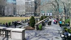 Bryant Park on the first day of spring Bryant Park, First Day Of Spring, New York City, Sidewalk, Spaces, Walkway, New York, Nyc, Walkways