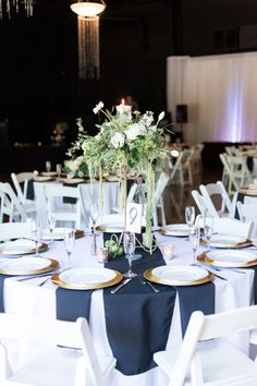 Reception Table Decor Tall White and Green Centerpiece Gold Accent Plates Black Runner and Napkins | The-Palms-Chico-California-Wedding-Photographer-TréCreative