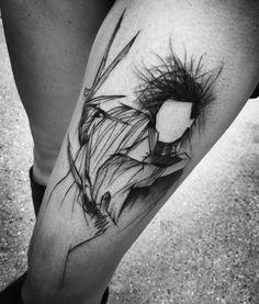 40 Edward Scissorhands Tattoo Designs For Men - Movie Ink Ideas Bild Tattoos, Body Art Tattoos, Sleeve Tattoos, Arm Tattoos, Tattos, Small Tattoos, Thigh Tattoo Designs, Tattoo Designs For Women, Design Tattoo
