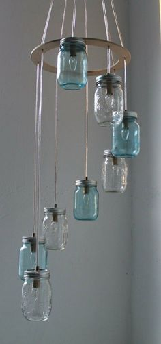 Waterfall Splash Mason Jar Chandelier, Handcrafted Hanging Spiral Lighting Fixture, Blue & Clear Jars, BootsNGus Lighting and Home Decor Mason Jar Chandelier, Mason Jar Lighting, Mason Jar Lamp, Hanging Light Fixtures, Hanging Pendants, Diy Luz, Deco Luminaire, Jar Lights, Glass Lights