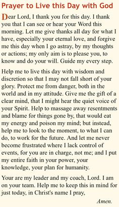 Prayer to live this day with God