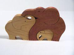 Animal Puzzle Maple Wood Scroll Saw Cut 3 Elephants
