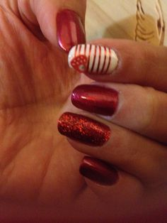 1st time try! Valentine's Day Ready nails White nail/red stripe-ing tape/fimo heart Red nail dipped in red glitter