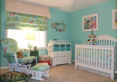 tropical nursery decor | Tropical Theme Nursery, All custom made crib bedding and window ...