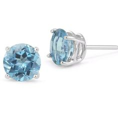 7mm Blue Topaz Stud Earrings in Platinum Screw Back Posts Apples of Gold. $525.00. Save 55%!