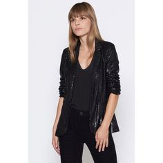 Joie Mehira Sequin Blazer ($299) ❤ liked on Polyvore featuring outerwear, jackets, blazers, caviar, open front jacket, joie blazer, sequin jacket, sequin blazer jacket and sequin blazer