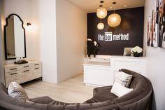 Bar Method, Lake Oswego OR, Modern studio design, white and black, reception desk design, pendants, accent lighting, Design and Construction by Emmett Phair, Design-Build
