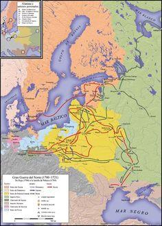 1700 a 1721 - Gran Guerra del Norte - Rusia anexiona las provincias bálticas suecas y una parte de Finlandia. Prusia se anexiona la mitad de la Pomerania Sueca. Hanóver se anexiona los ducados de Bremen-Verden. Dinamarca recupera el dominio completo de Schleswig y Holstein.