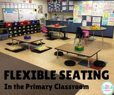 Flexible Seating in the Primary Classroom. Includes seating options and how a first grade teacher implemented flexible seating. Lots of great tips! Modern Classroom, Classroom Setting, Classroom Setup, Classroom Design, Future Classroom, First Grade Classroom, Primary Classroom, Seasonal Classrooms, Kindergarten Classroom Layout