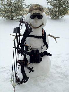 Bowhunting snowman