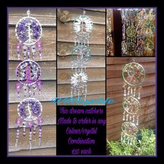 rio dream catchers £25 each order any trio and receive a free small dream catcher worth £15 mix and match colours and crystals on each, to order contact me with your chosen colours and crystals, trio & small or check my page for ready to post in the pinned section, free UK postage, contact me if outside the UK for a postage quote https://www.facebook.com/Witchyoble-1378484435792016/?fref=ts&hc_location=ufi