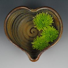 "Brown Glaze Heart Bowl (6-1/4"" x 2-1/2"") by Neal Pottery $17"