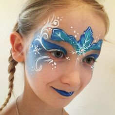 Elsa face paint #elsa #facepaint #frozen #frost #blue