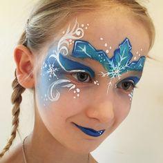 Elsa face paint #elsa #facepaint #frozen #frost #blue