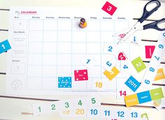 Make your own calendar. For more fun and free #printables visit: http://beorganized.theorganizedparent.com/AllFreebies
