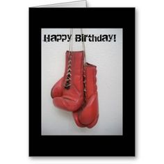 Boxing gloves Happy Birthday Card: #boxing #boxinggloves #redgloves #boxingbirthday #card