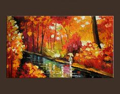 Autumn Limited Print Edition from ORIGINAL PAINTING by Milen RED orange  Park Red CANVAS IS STRETCHED Impressionism