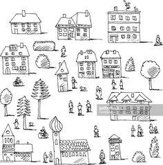 Vector Art : Buildings Trees People Urban Life Set Drawing