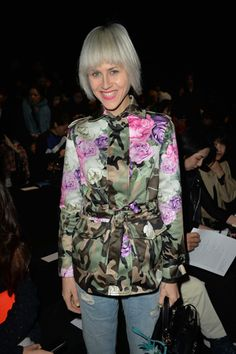@lindatol001 with a romantic camouflage jacket from the Blugirl Spring Summer 2015 during the Milan Fashion Week #mfw