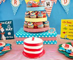 birthday party theme. Dr. Suess.  You could serve green eggs  ham (snacks with pretzels and hugs w/ green M) and swedish fish (1 fish 2 fish...)