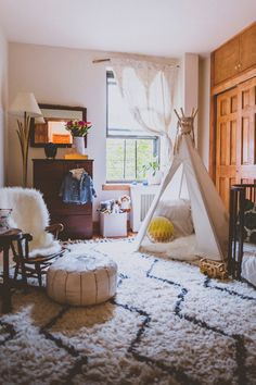 Teepee in Eclectic, Modern Toddler Boy's Room - Project Nursery