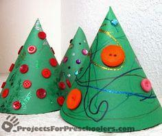 http://www.projectsforpreschoolers.com/paper-cone-christmas-trees/