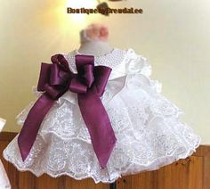White new born baby/toddler girl dress/gown/purple bow/lace/satin/infant/christening/blessing/baptism/communion/wedding/party/ruffle